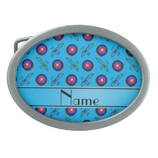 Tiro al arco conocido personalizado del azul de hebillas cinturon ovales