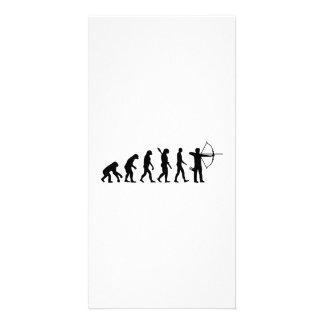 Tiro al arco de la evolución tarjetas con fotos personalizadas