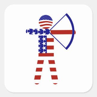 Tiro al arco de los E.E.U.U. - americano Archer Pegatinas Cuadradases Personalizadas