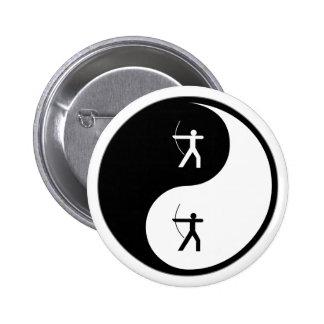 Tiro al arco de Yin Yang Pin Redondo De 2 Pulgadas
