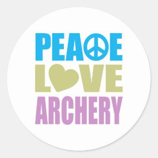 Tiro al arco del amor de la paz etiqueta