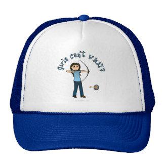 Tiro al arco femenino ligero en azul gorras de camionero