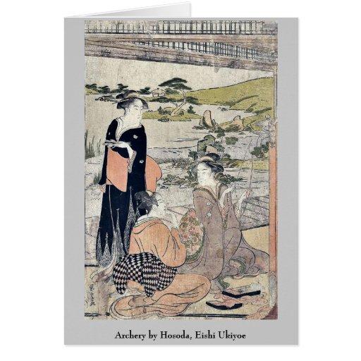 Tiro al arco por Hosoda, Eishi Ukiyoe Tarjeta