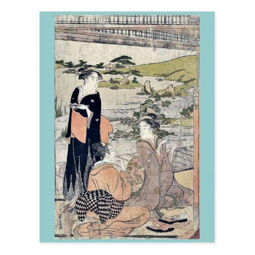 Tiro al arco por Hosoda, Eishi Ukiyoe Tarjeta Postal