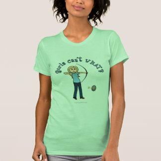 Tiro al arco rubio en azul camiseta