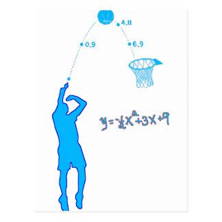 Tiro de baloncesto y ecuación cuadrático postales