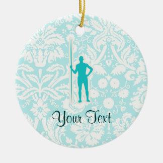Tiro de jabalina del trullo adorno navideño redondo de cerámica