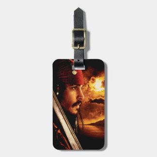Tiro de la cara lateral de Jack Sparrow Etiquetas De Equipaje