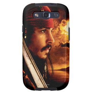 Tiro de la cara lateral de Jack Sparrow Galaxy SIII Coberturas