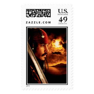 Tiro de la cara lateral de Jack Sparrow Timbres Postales