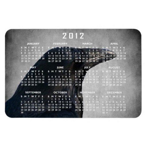Tiro del encanto del cuervo; Calendario 2012 Iman Flexible