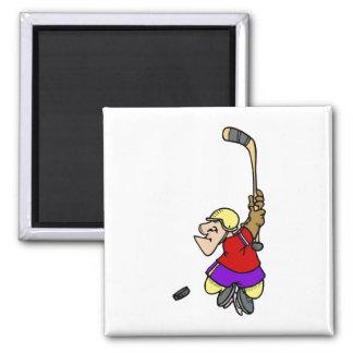 Tiro en suspensión del hockey imán cuadrado
