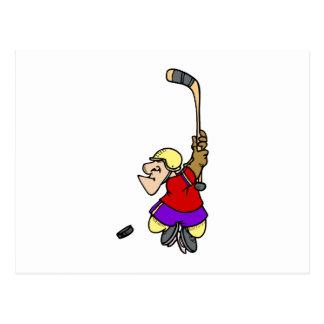 Tiro en suspensión del hockey postales
