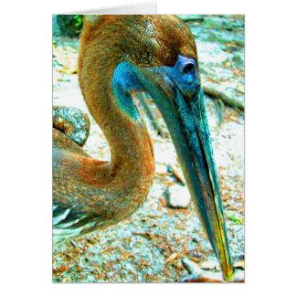 Tiro joven de la cabeza del pelícano, alto color tarjeta de felicitación