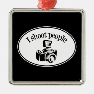 Tiro la cámara B&W del fotógrafo retro de la gente Adorno Navideño Cuadrado De Metal