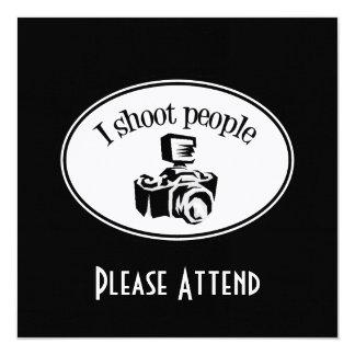 "Tiro la cámara B&W del fotógrafo retro de la gente Invitación 5.25"" X 5.25"""
