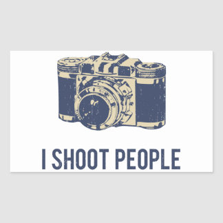 Tiro la cámara de la fotografía de la gente pegatina rectangular