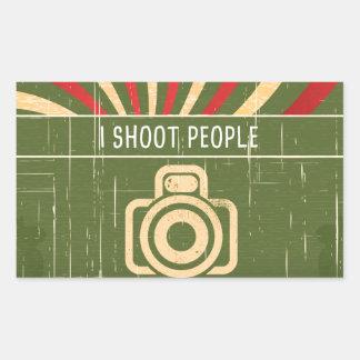Tiro la cámara de la gente pegatina rectangular