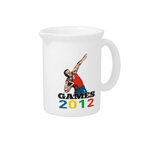 Tiro lanzamiento de peso de los juegos 2012 del ve jarras para bebida