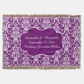 Tiro púrpura personalizado del boda/del recuerdo manta