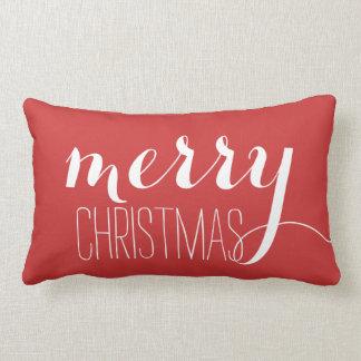 Tiro rojo del día de fiesta de las Felices Navidad Cojín Lumbar