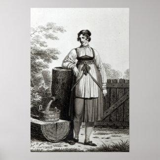 Tirollian Peasant Girl, 1817 Poster