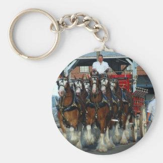 Tirón de caballo de Clydesdale 6 Llaveros Personalizados
