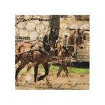 Tirón de caballo dos impresión en madera