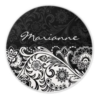 Tirón de cerámica floral blanco y negro intrépido pomo de cerámica