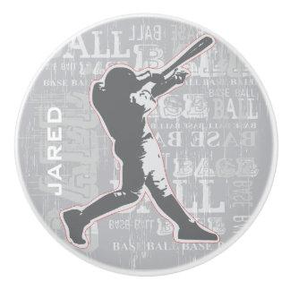 Tirón de cerámica o botón del diseño del béisbol