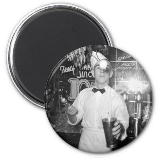 Tirón de soda, los años 30 imán redondo 5 cm