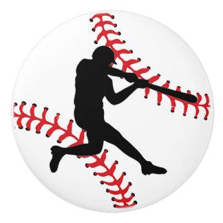 Tirón del cajón del diseño del béisbol, botón del pomo de cerámica