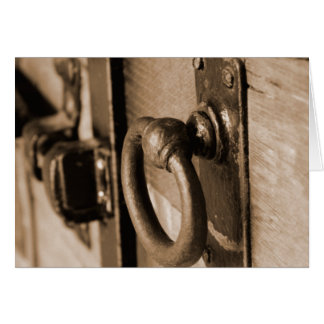 Tirón del tirador de puerta y sepia antiguos tarjeta de felicitación
