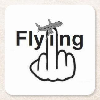 Tirón del vuelo del práctico de costa posavasos de cartón cuadrado