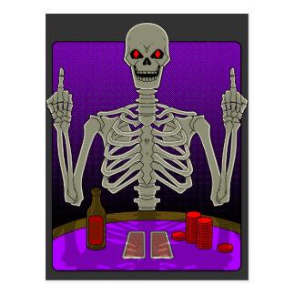 Tirón esquelético del póker tarjeta postal