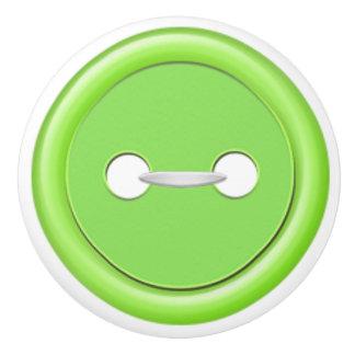 Tirón verde del cajón del botón pomo de cerámica