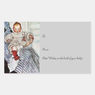 Tirones de Esbjorn del bebé en su pie Pegatina Rectangular