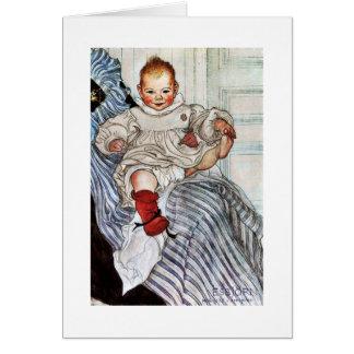 Tirones de Esbjorn del bebé en su pie Tarjeta De Felicitación