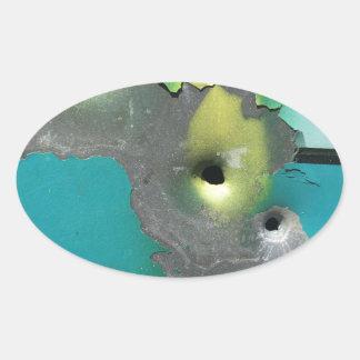 Tiros del arma pegatina ovalada