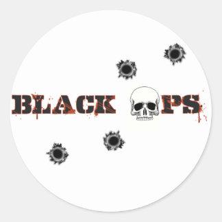 Tiros del cráneo de BlackOps Pegatina Redonda