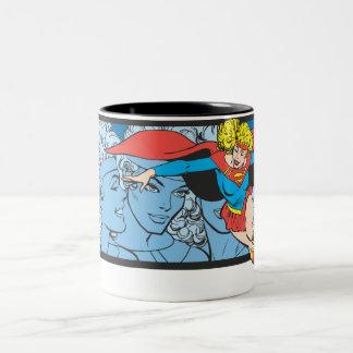 Tiros principales de Supergirl Taza De Café De Dos Colores