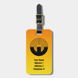Tiroteo amarillo-naranja del deporte etiqueta de maleta