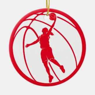 Tiroteo de la silueta del baloncesto del chica adorno navideño redondo de cerámica