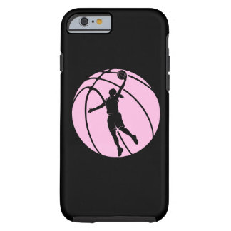 Tiroteo de la silueta del baloncesto del chica funda de iPhone 6 tough