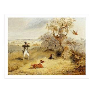 Tiroteo del faisán (aceite en lona) 2 tarjetas postales