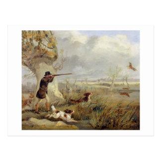 Tiroteo del pato (aceite en lona) tarjeta postal