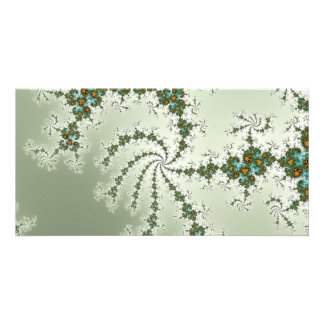 Tirquoise Fractal with Orange and Rust Card