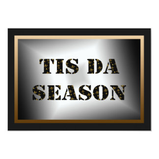 Tis Da Season Black Gold Fleur de Lis Party Card