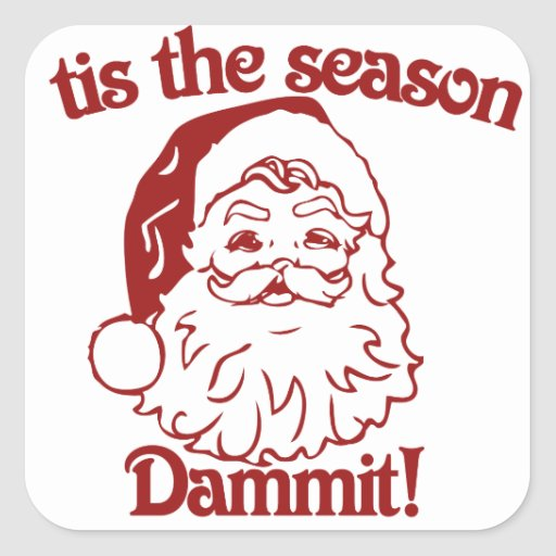 Tis el navidad divertido de la estación pegatina cuadrada