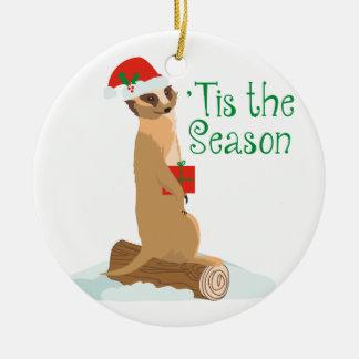 Tis la estación adorno navideño redondo de cerámica